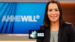 Sendungsbild von Anne Will mit dem DGS Logo. © NDR Fotograf: Wolfgang Borrs