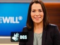 Sendungsbild von Anne Will mit dem DGS Logo. © NDR Foto: Wolfgang Borrs