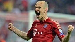 Spieler des FC Bayern München bejubeln einen Sieg. © dpa bildfunk Foto: Peter Kneffel