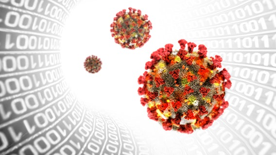 Les virus flottent à travers un tunnel de nombres.  © Fotolia, panthermedia Photo: Mike Kiev, lamianuovasupermail