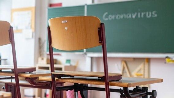 """In einer leeren Schulklasse steht das Wort """"Coronavirus"""" an der Tafel. (Themenbild) © picture alliance Foto: Zoonar"""