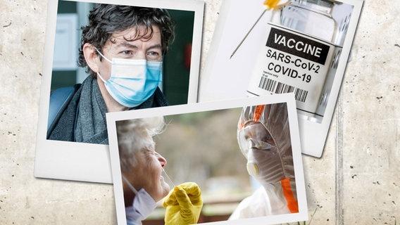 Une compilation d'images : Christian Drosten, une bouteille de Cocid 19 Vaccine, une vieille femme faisant un test Corona. © picture alliance, colourbox Photo : Michael Kappeler