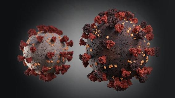 Duas representações simbólicas do Coronavirus em cores diferentes. © PantherMedia Foto: Emilian