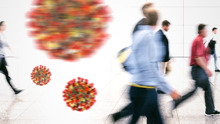 Viren schweben vor einer Menschenmenge (Fotomontage) © panthermedia,photocase Foto: rclassen