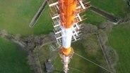 Blick von oben auf die Sendeantennen am Sendemast Aurich © Torsten Greetfeld Fotograf: Torsten Greetfeld