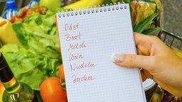 Eine Frauenhand hält eine Einkaufsliste über einen mit Gemüse gefüllten Einkaufswagen.  © fotolia Foto: Gina Sanders