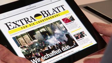 """Mit einem """"Extrablatt"""" wird vor Landtagswahlen für die AfD gemacht. © ZAPP Foto: Screenshot"""