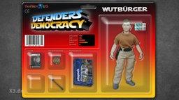"""Eine Action-Figur """"Wutbürger"""" in der Verpackung."""