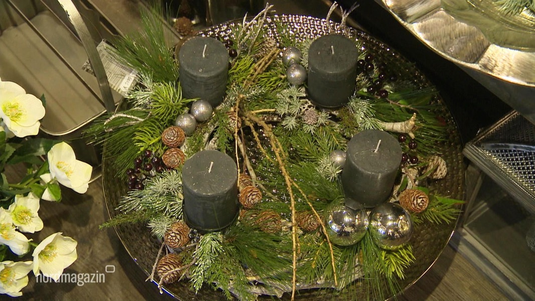 seidige adventsgestecke aus handarbeit fernsehen sendungen a z nordmagazin. Black Bedroom Furniture Sets. Home Design Ideas
