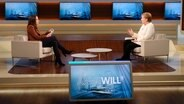 Moderatorin Anne Will und Bundeskanzelerin Angela Merkel sitzen sich gegenüber. © NDR/Wolfgang Borrs Foto: Wolfgang Borrs