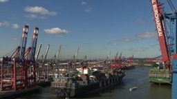 Ein Containerschiff im Hamburger Hafen.