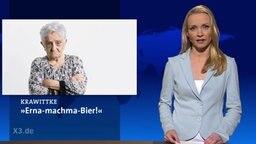 Eine Nachrichtensprecherin neben dem Bild einer grimmig schauenden Oma.