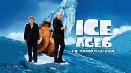 """Fiktives """"Ice Age""""-Filmposter mit Angela Merkel und Horst Seehofer."""