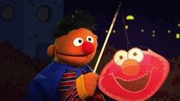 Ernie mit einer Bert-Laterne in den Händen.