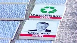 """Memory Karten mit den Aufschriften """"Umweltschutz:Nein"""" """"Seehofer:Nein"""""""