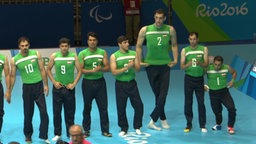 Volleyballspieler Morteza Mehrzadselakjani mit seinen Mitspielern.
