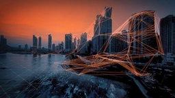 Verfremdete Skyline von Panama-Stadt.