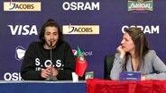 Der portugiesische Teilnehmer Salvador Sobral bei der Pressekonferenz nach dem ersten Halbfinale © NDR