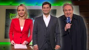 Moderator Christian Ehring im Studio mit Janin Ullmann und Oliver Kalkofe