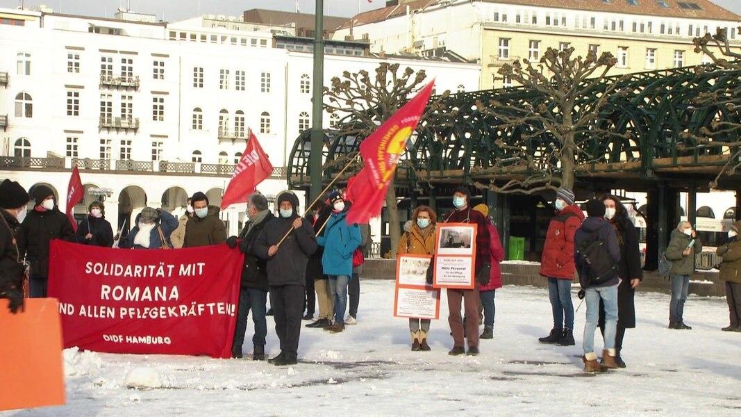 Solidaritäts-Demo für kritische Krankenpflegerin in Hamburg