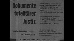 """Ein Plakat mit dem Ausstellungstitel """"Dokumente totalitärer Justiz"""""""