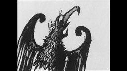 Die Karikatur eines Adlers.