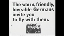 """Lufthansa-Werbung mit dem Text """"The warm, friendly, loveable Germans invite you to fly with them"""""""