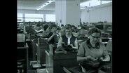 Frauen sitzen in einer Fakrbikhalle und prüfen Durchschlagpapier