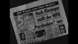 """Titelseite des 5-Uhr-Blattes mit der Aufschrift """"Auch Kiesinger stellt der NPD Persilschein aus"""""""