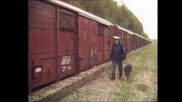 Ein Polizist mit Hund inspiziert einen Güterwagon (Archivbild).