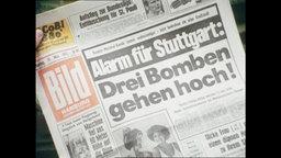 """Die Titelseite der Bild-Zeitung mit der Aufschrift """"Alarm für Stuttgart: Drei Bomben gehen hoch!"""" (Archivbild)."""