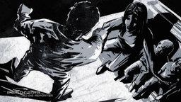 Gezeichnete Szene aus einer Graphic Novel: Ein Mann steht drohend über seiner Frau und seinen Kindern. © Jörn Peper Foto: Jörn Peper
