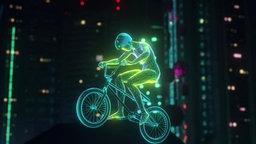 Ein animinierter BMX_Fahrer springt mit seinem Fahrrad in die Höhe.