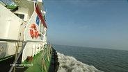 Ein Schiff fährt durch die Nordsee
