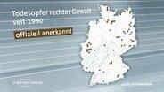 Eine Deutschlandkarte die die Opfer von rechter Gewalt zeigt