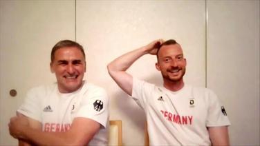 Die deutschen Fußballer mit guter Stimmung im Interview.