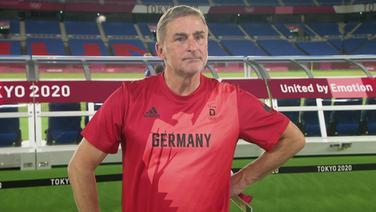 """DFB Trainer Stefan Kuntz im Interview nach dem Fußballspiel """"Deutschland gegen Brasilien""""."""