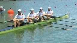 Der deutsche Doppelvierer der Ruder-Männer kurz vor dem Start des zweiten Vorlaufs.