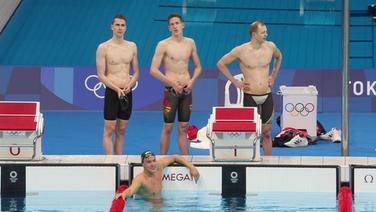 Enttäuschte Gesichter bei den deutschen männlichen Schwimmern.