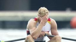 Der deutsche Ruderer Oliver Zeidler nach dem gewonnen B-Finale.