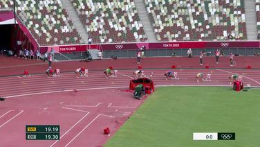 Die 200m-Sprinter an den Startblöcken.