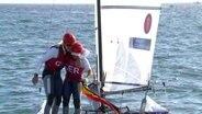 Das deutsche Katamaran-Duo Stuhlemmer/Kohloff feiert Bronze.