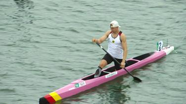 Conrad Scheibner im 1er Kanu vor dem Finale-Start.