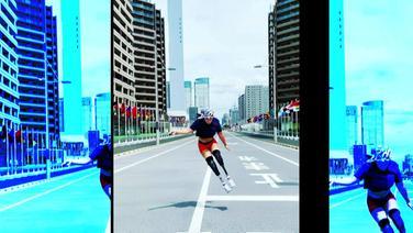 Eine springende Paralympionikin.