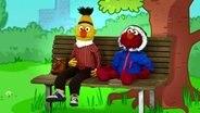 .Bert und Elmo auf der Bank