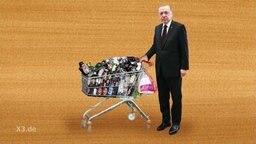 Erdogan Animation mit einem Einkaufswagen voll mit Pfandflaschen.