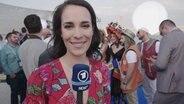 Alina Stiegler am rotten Teppich in Lissabon.