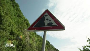 Ein Verkehrsschild mit Warnung vor Steinschlag.