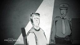 Zeichentrickmann, der von Zeichentrickpolizist verhört wird.