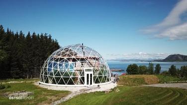 Futuristisches Glashaus in Norwegen.